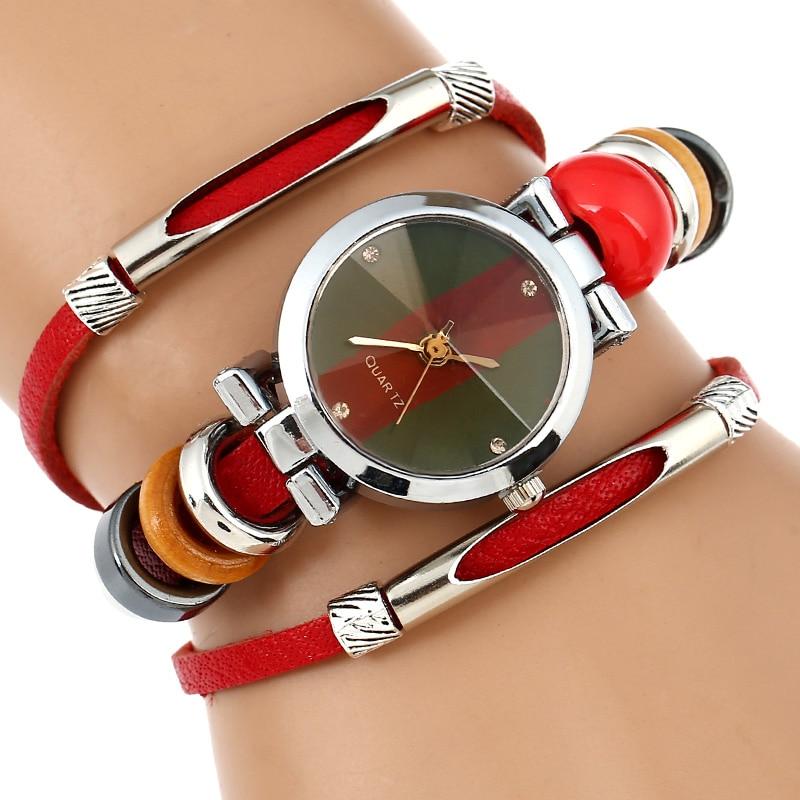 Gnova Platinum Italy Women Fashion Watch Top Genuine Leather Wristwatch Strap Geneva Style Red Blood Coral Quartz Femme Clock