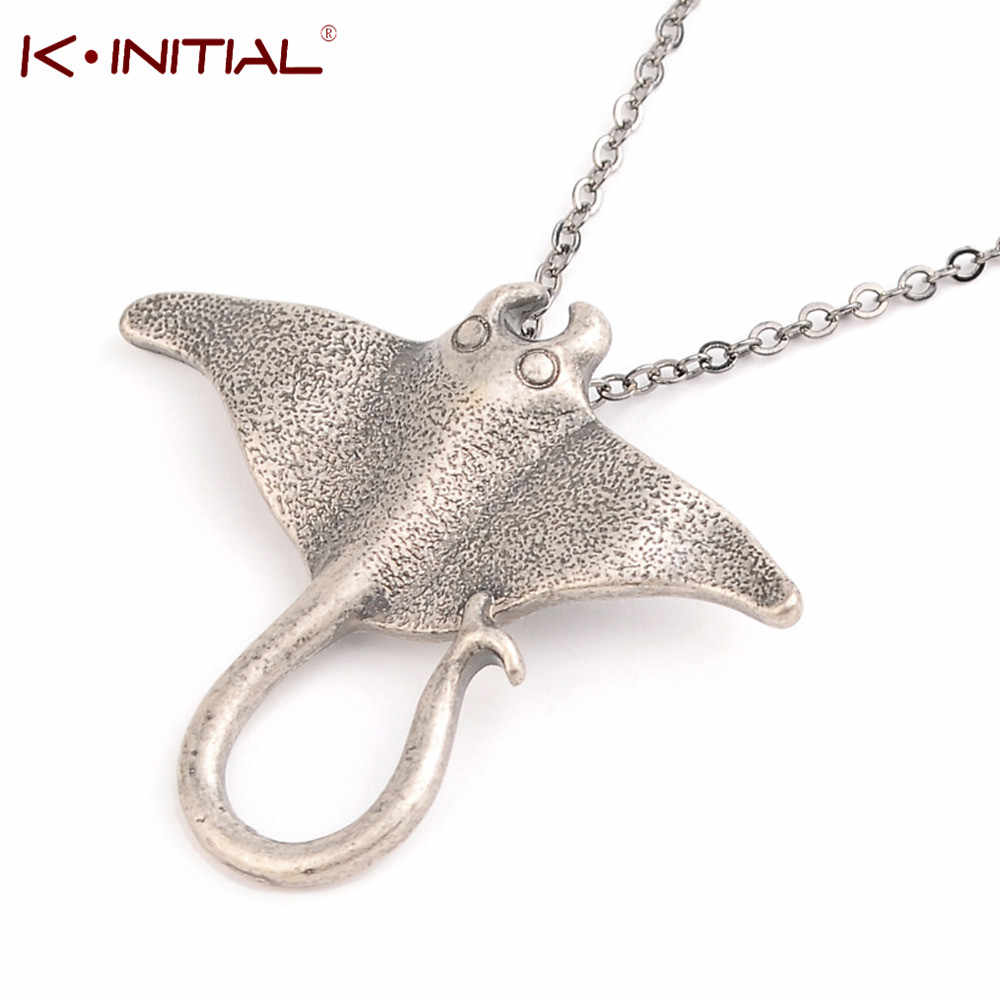 Kinitial Sting Ray mar criatura Animal Dgg collar único océano raya Manta Ray criatura de mar colgante encanto collar