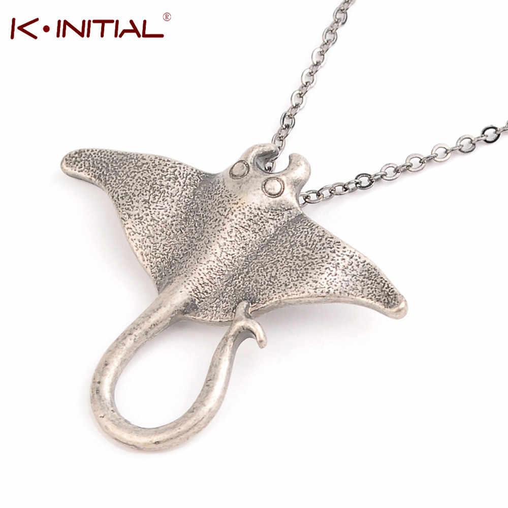 Kinitial żądło Ray morskie stworzenie zwierząt Dgg naszyjnik unikalny Ocean Stingray Manta Ray morskie stworzenie wisiorek urok naszyjnik Bijoux