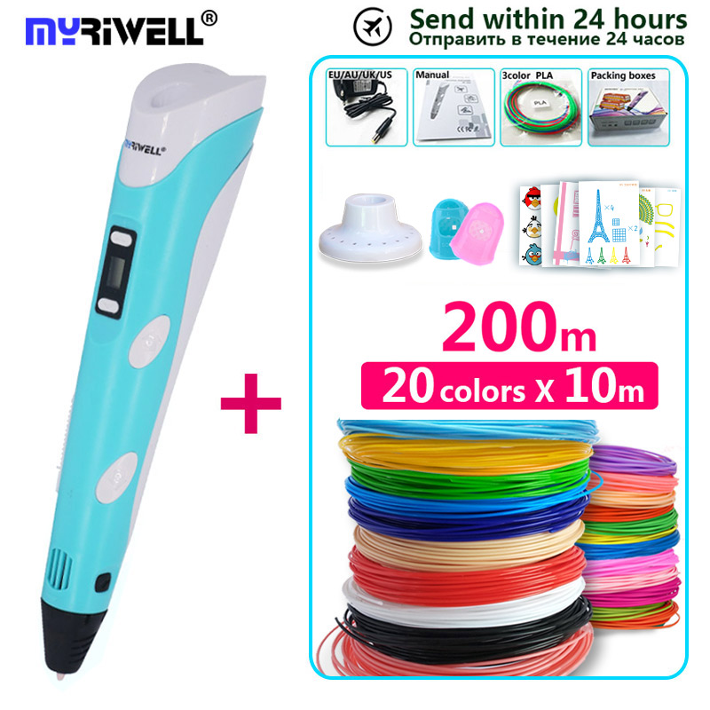 Myriwell 3d pen 3d pens,Bright color, 1.75mm filament,3 d pen+Silica gelset to protect hand,3d printed pen best new Year's gifts(China)