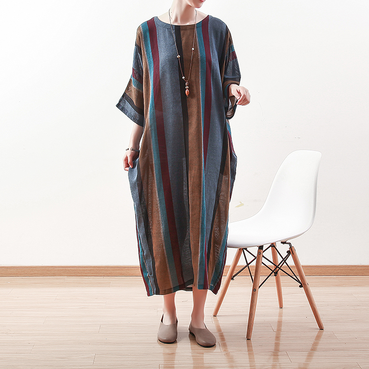 19 New Summer Women Plus Size Vintage Color Stripe Cotton Linen Dress Summer O Neck Cool Bright Women Dress female gowns linen in Dresses from Women 39 s Clothing