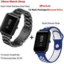 Купить с кэшбэком for Amazfit Bip Lite Smart Watch Strap 20mm Metal Pulsera Correa for Xiaomi Huami Amazfit Bip Bracelet for Samsung Gear S2 S4