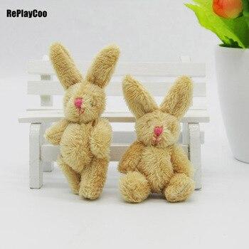 50Pcs/Lot Mini rabbit Stuffed Plush Toys Small  brown rabbit with pink nose Stuffed Toys pelucia Pendant Kids Gift Decor 02401