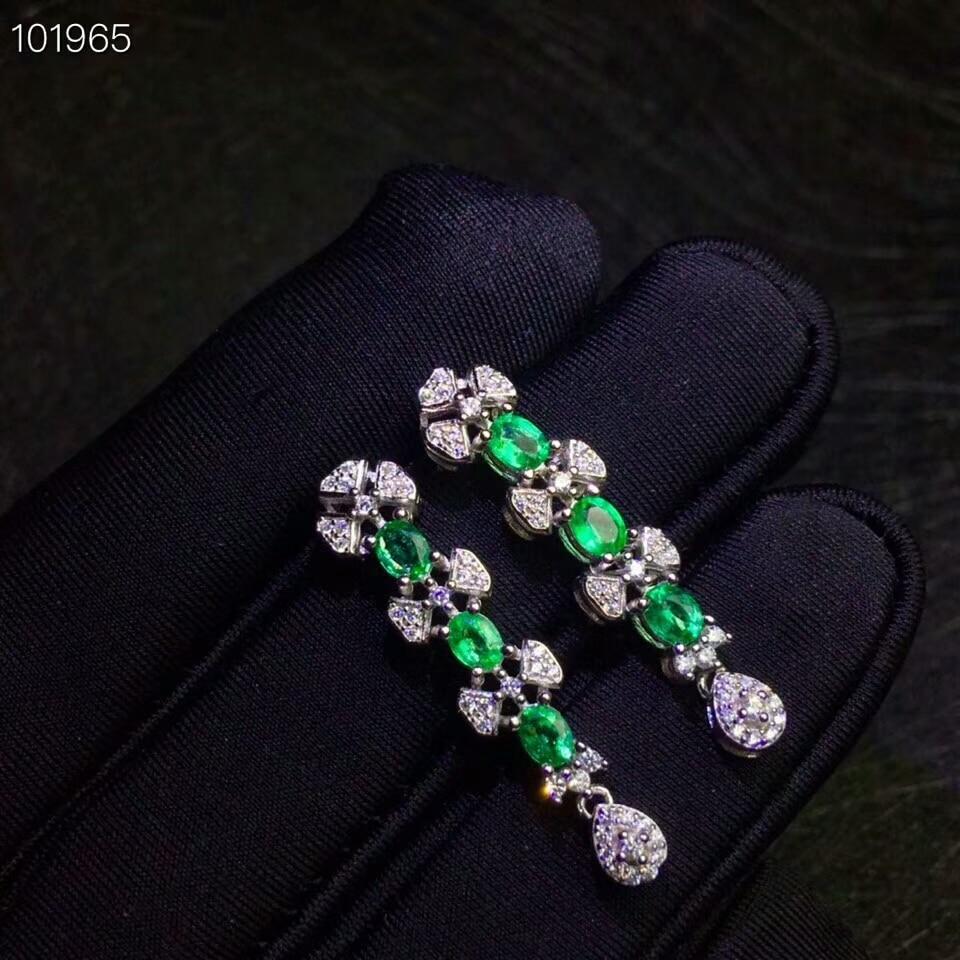 MeiBaPJ Natural Columbia Emerald Gemstone Drop Earrings Real 925 Silver Long Earrings Fine Charm Jewelry