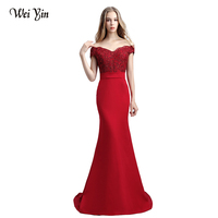 WeiYin Robe De Soiree Mermaid Wine Red Red Lace Long Evening Dresses Sexy Crysta Mother Of