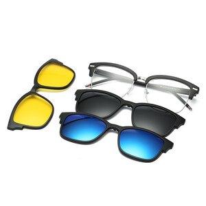 Image 5 - Spolaryzowane okulary przeciwsłoneczne zestaw z 3 sztuk klipsy magnetyczne TR rama klip na okulary magnes na co dzień optyczne krótkowzroczność okulary
