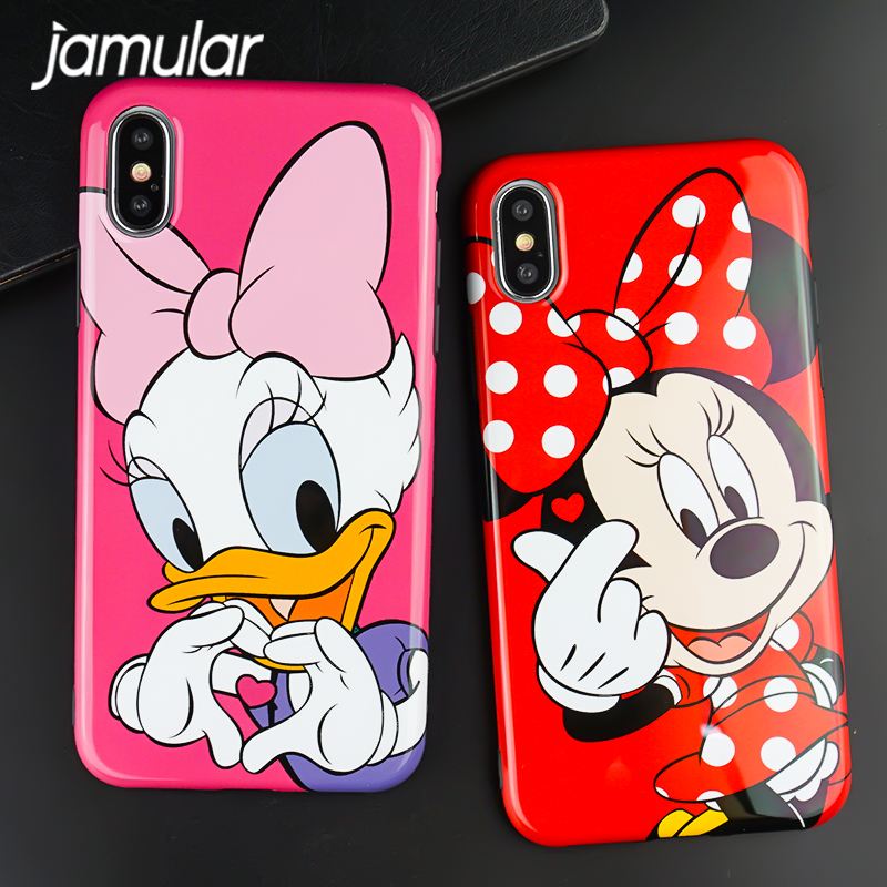Jamular Minnie Mickey Daisy Donald Duck Case For iphone 6 s Glossy Soft TPU Cover For iphone X 10 6 6sPlus 7 8Plus Coque Capinhs