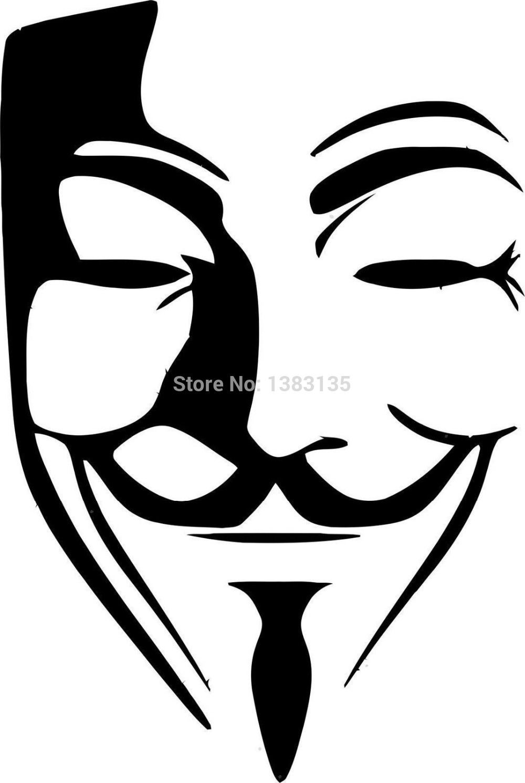 Car sticker design vector free - Wholesale 50 Pcs Lot Anonymous Mask Vector Image Car Sticker For Truck Window Bumper Suv