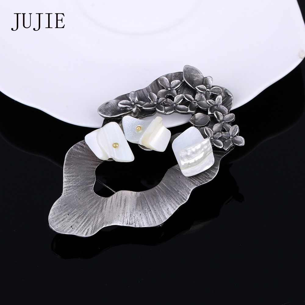 JUJIE Vintage Exquisite Nature Shell Brooch Pins 2019 Unique Design Geometric Brooches Jewelry Dropshipping