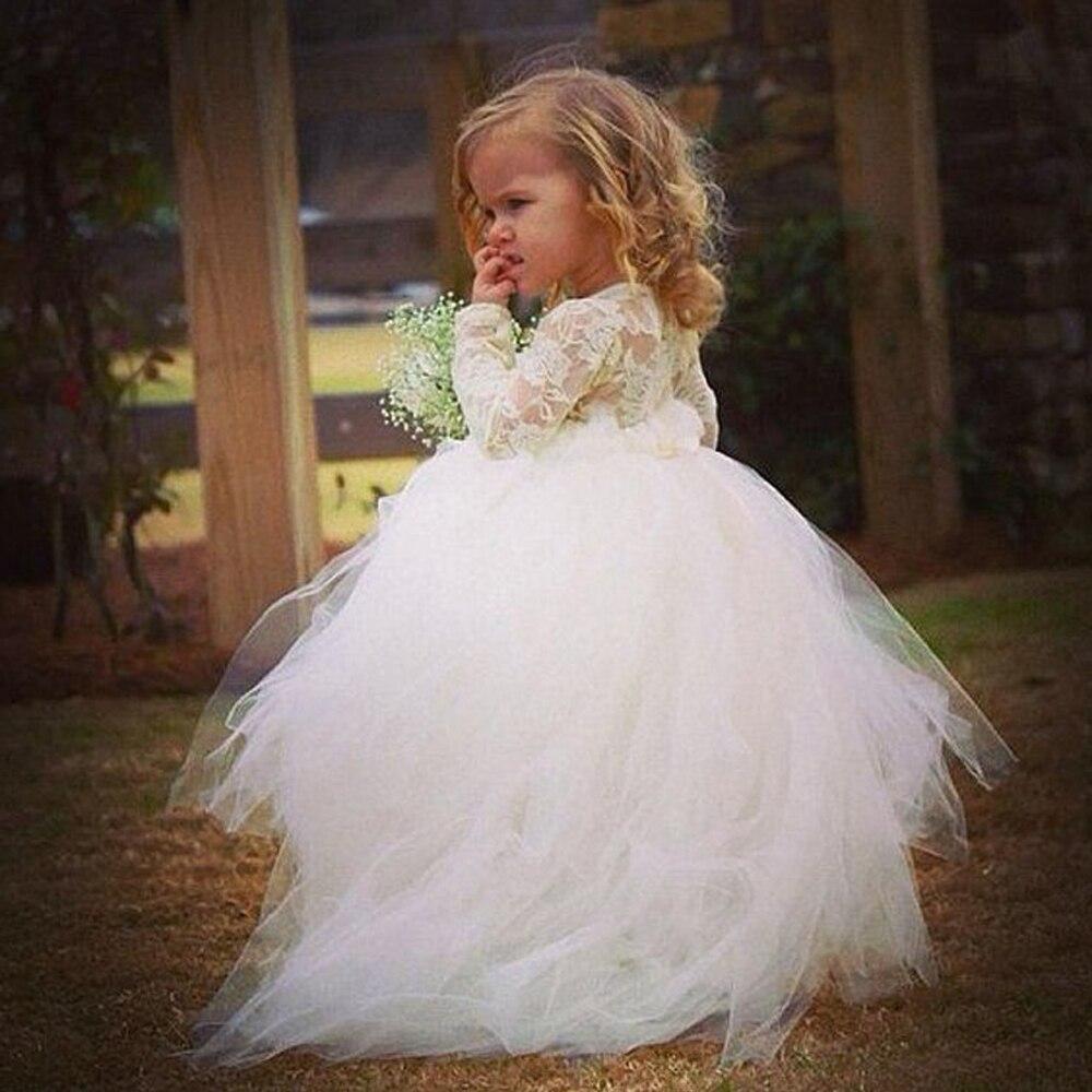 Vestido de noiva Elegant Flower Girls Dresses With Long Sleeves ...
