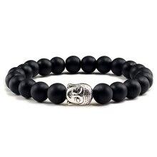 Trendy Natürliche Stein Lava Strang Armbänder Metall Buddha Kopf Perlen Charme Gebet Armbänder & Armreifen Schmuck Handgemachte Geschenke