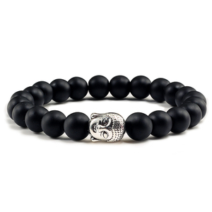Image 1 - Trendy Natural Stone Lava Strand Bracelets Metal Buddha Head Beaded Charm Prayer Bracelets&Bangles Jewelry Handmade Gifts