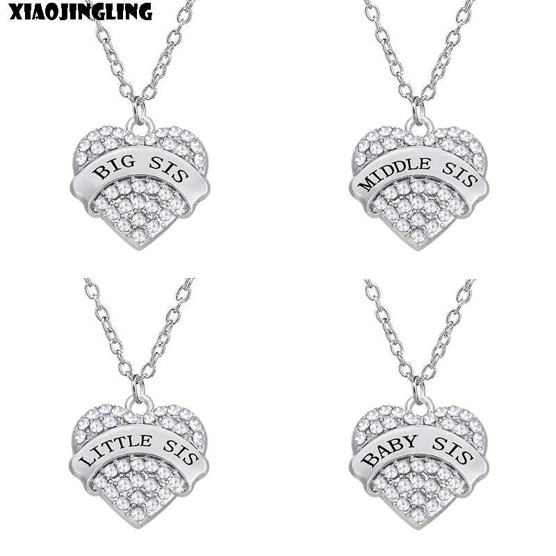 "XIAOJINGLING Charm Clear Crystal Rhinestone Heart Necklace ""BIG SIS MIDDLE SIS LITTLE SIS BABY SIS"" Sister Birthday Gift Jewelry"