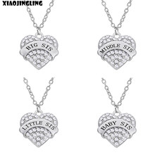 "XIAOJINGLING Charm Clear Crystal Rhinestone Heart Necklace ""BIG SIS MIDDLE SIS LITTLE SIS BABY SIS"" Sister Birthday Gift Jewelry(China)"