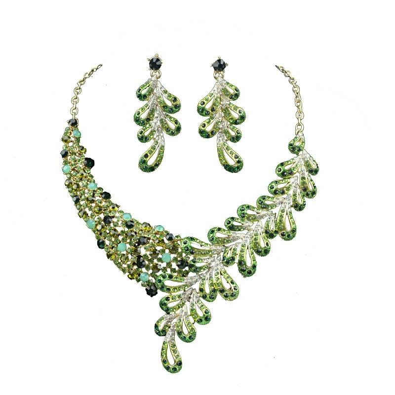 Partie Bijoux de mariée Set Femmes De Mariage fit robe collier et boucles d'oreilles ensemble leaft style Vert couleur strass délicat bijoux