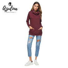 AZULINA Funnel Neck Long Sleeve Pocket Sweatshirt 2107 Women Casual Trendy Sweatshirts Female Cotton Blend Fashion Pullovers(China)