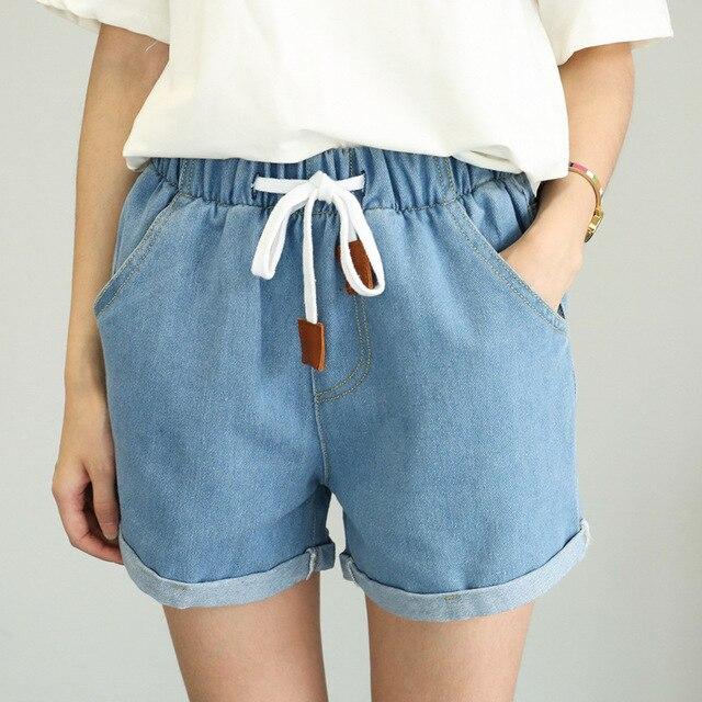 Korte Jeans Broek Dames.Dzzyfjc Hoge Taille Shorts Vrouwen Zomer Solid Elastische Taille