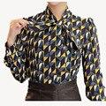 Nueva Oficina Ropa de Trabajo 2016 de la Camisa de Las Mujeres Tops Floral Amarillo Pajarita Patrón Estampado Geométrico Blusa Ropa de Mujer Otoño T65628R