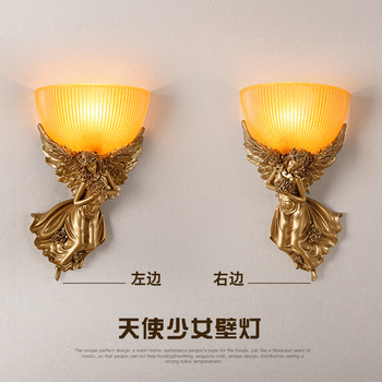 head Arts Crafts American bedroom bedside lamp wall lamp lamp retro European style living room aisle stairs and corridor lamp cr