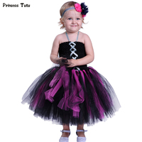 Children Girl Tutu Dress Black Tulle Girls Halloween Dresses Cosplay Witch Vampire Costume Knee Length Kids