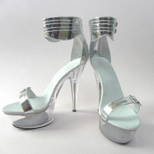 Elegant Crystal Shoes 15cm Ultra High Heels Sandals Silver Bride Wedding Shoes 6 Inch Platform Heels Crystal Strappy Sandals