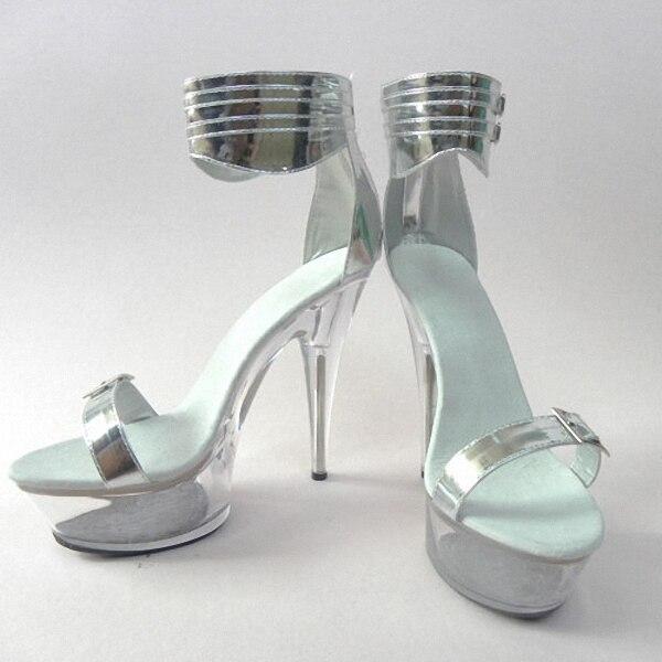 Elegante Kristall Schuhe 15 cm Ultra High Heels Sandalen Silber Braut Hochzeit Schuhe 6 Zoll Plattform Heels Kristall Strappy Sandalen