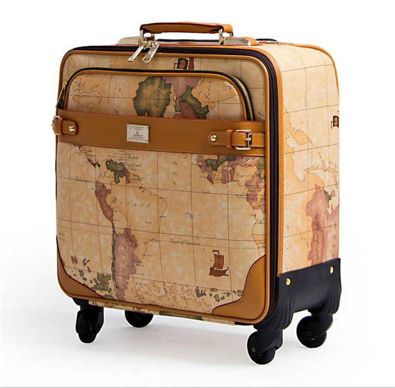 1pc 16 18 20 inch map printing suitcase on wheels leather travel bag 1pc 16 18 20 inch map printing suitcase on wheels leather travel bag trolley board chassis world map luggage in carry ons from luggage bags on gumiabroncs Image collections