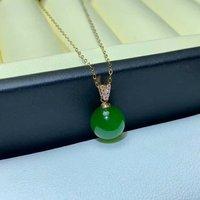 SHILOVEM 18k YELLOW gold real Natural green Jasper pendants classic fine Jewelry women wedding new plant 10*10mm mymz1010290by