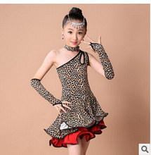 Free shipping rumba latin dance dress tango samba 100-160cm leopard print 7 size fashion professional girl child dress costume