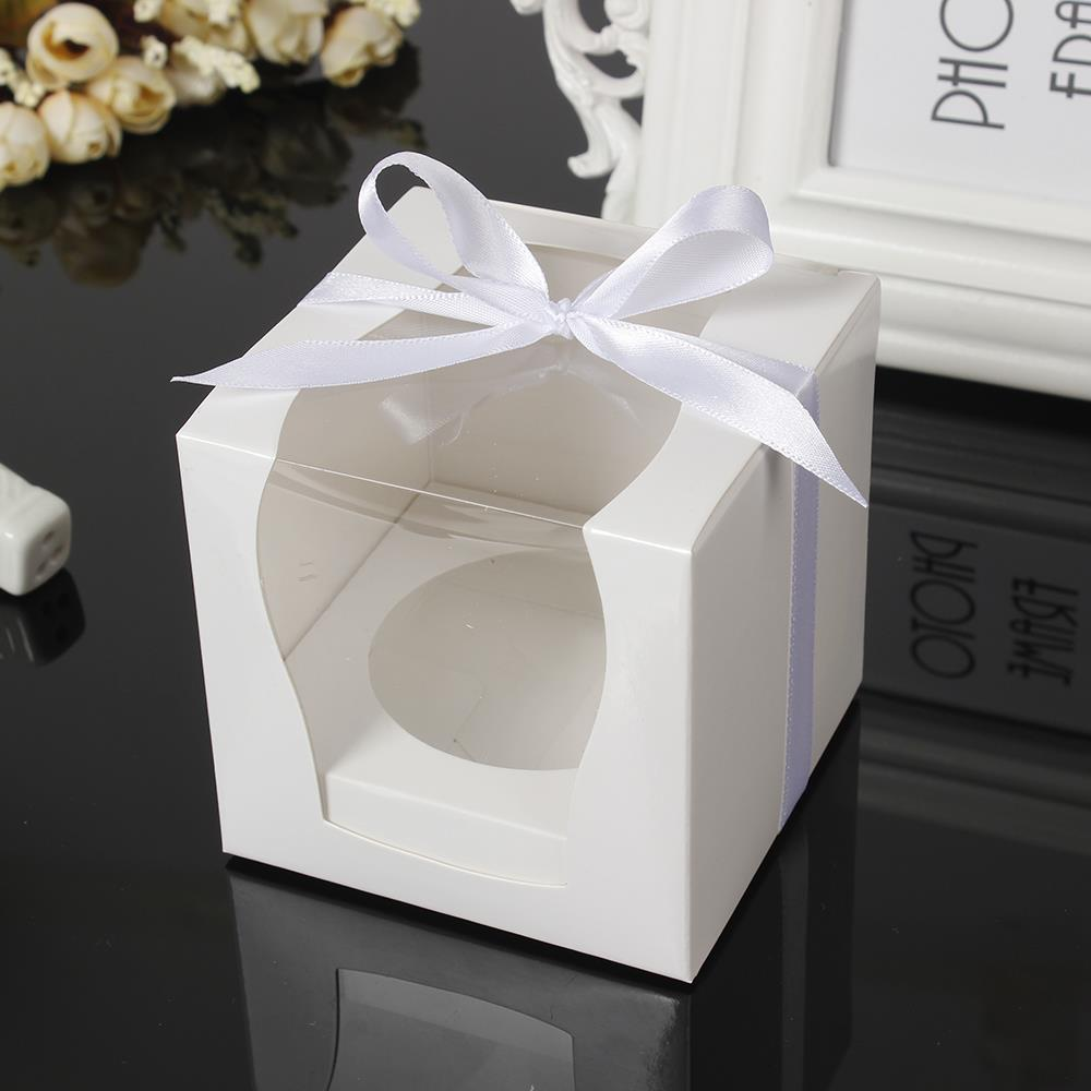 12Pcs/set White Kraft Paper Cupcake Box Cake Box With Window Wedding Party Favor Box Cake Packaging