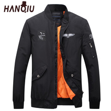 HANQIU Parkas Men Brand Winter Spring Bomber Jacket Casual Solid Warm Stand Collar Slim Fit Embroidery Zipper Pocket Coat