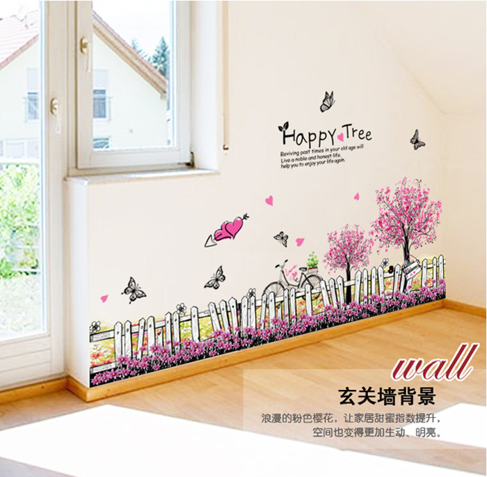 Happy Tree Grass Butterfly Flower Fence Clover Skirting Line Wedding Corner Wall Sticker For Kid Room Home Decor Home decoration