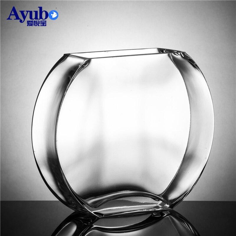 29%, réservoir de poisson en verre transparent créatif Simple de fleur de pêche réservoir de poisson d'or plat rond mini aquarium