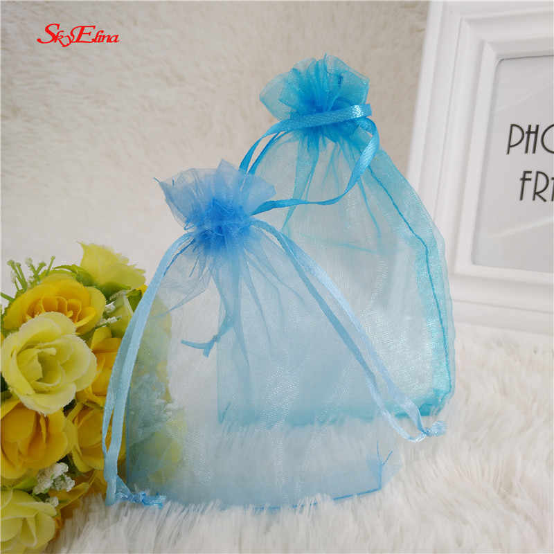50pcs 7x9 9x12 10x15 13x18CM Organza Gauze Element Jewelry Bags Packing Organza Bags Wedding Gift Bags Organza tulle fabric 5z