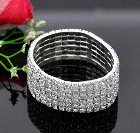 12 pcs/lot 6 ROW Diamante Rhinestone Stretch Silver Bracelet B096
