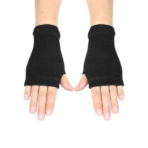 New Sale Black Elastic Acrylic Fingerless Winter Knitted font b Gloves b font for Women