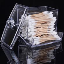 Transparent Acrylic Cotton Swabs Sticks Box Holder Cosmetic Storage Box Makeup Organizer Case Portable Cotton Pads Container cheap cosmetic organizer Jewelry Box 8 8 * 6 5 * 10 5cm makeup box