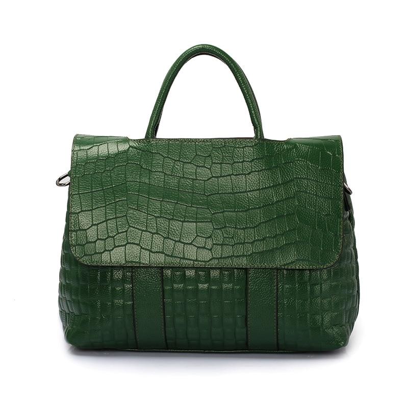 แท้ผู้หญิงรูปแบบจระเข้กระเป๋าถือหนังวัวแท้ผู้หญิงร้อนขายกระเป๋าถือผู้หญิงขนาดใหญ่กระเป๋าสะพายสีเขียว-ใน กระเป๋าสะพายไหล่ จาก สัมภาระและกระเป๋า บน   1
