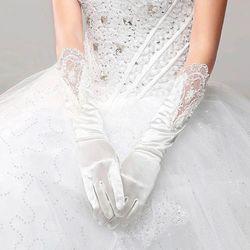 Braut Volle Finger Lange Weiße Handschuhe Mode Hochzeit Kleid Zubehör Spitze Handschuh Party Cosplay Requisiten