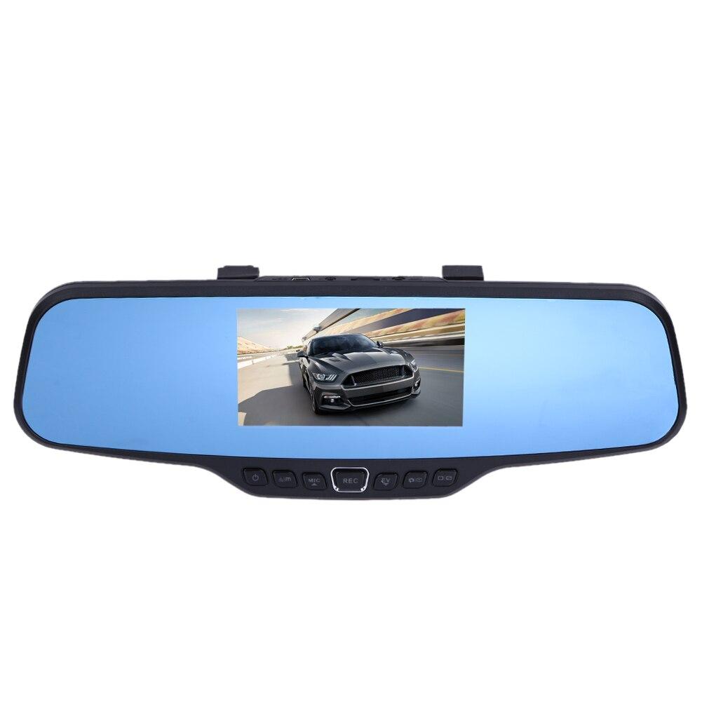 Car DVR Portable Rearview Mirror Video Camera Recorder Full HD 1080P 4.3 inch Digital Zoom Night Vision Dual Lens Car Camcorder