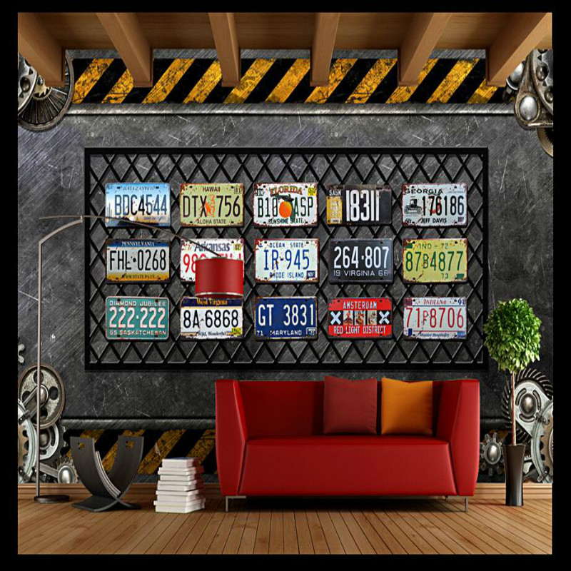 3d Wall Paper Vintage Decorative Painting 3d Wallpaper for Walls Home Improvement Retro Industrial Wind Gear License Plate Mural