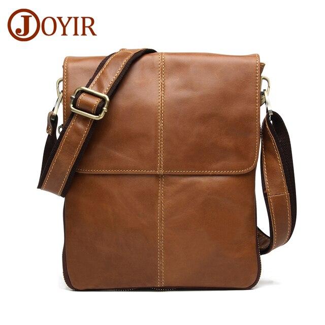 JOYIR Men Leather Messenger Bag Men's Shoulder Bag Genuine Leather Small  Casual Flap Male Crossbody Bags Men's Handbags Bolsas