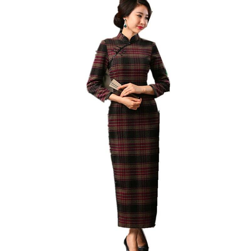 European Vintage font b Women s b font Wool Plaid Long Cheongsam font b Fashion b