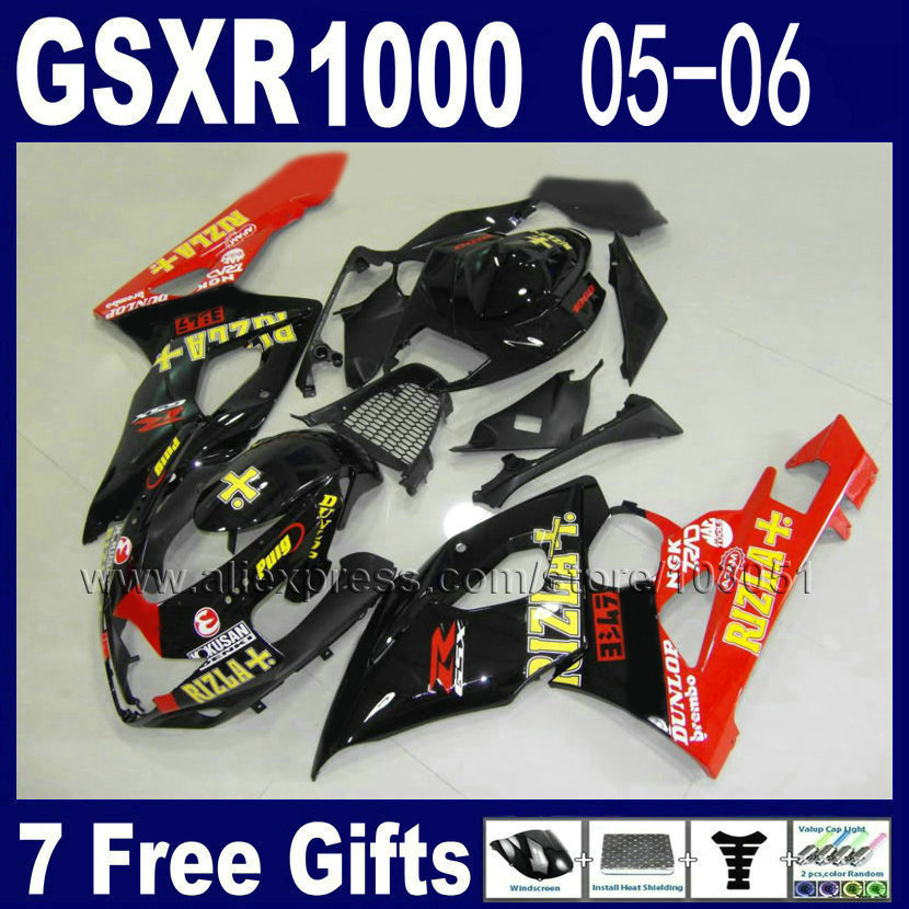 Custom Injection moulding moto fairing kit for suzuki K5  2005 2006 kits 05 GSXR 1000 06 red black RIZLA+ full fairings kits custom road fairing kits for suzuki glossy flat black 2006 gsxr 1000 k5 2005 gsx r1000 06 05 motorcycle fairings kit