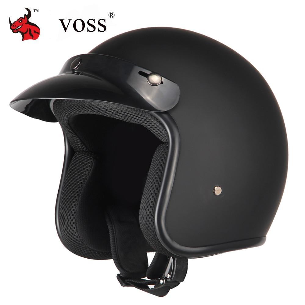 VOSS Motorcycle Helmet Retro Vintage Cafe Racer Moto Helmet 3 4 Open Face Crash Helmet Casco