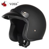 VOSS Motorcycle Helmet Retro Vintage Cafe Racer Moto Helmet 3/4 Open Face Crash Helmet Casco Casque Old Scooter Helmets