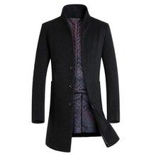 Зимняя шерсть пальто мужчины длинные участки толстые шерстяные пальто Mens Вскользь Куртка casaco masculino палто peacoat шинель()