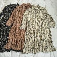 Vintage Spring Flower Print Dress Women Long Sleeve Fashion Loose Chiffon Dresses Long Retro Floral Dress Mid Length