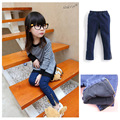 Children trousers Baby girl's  pencil Panty winter with velvet  jeans Side zipper little girl The cowboy pants Kids Denim