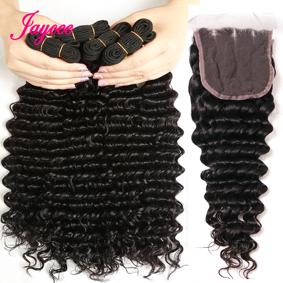 Jaycee Brazilian Deep Wave Bundles With Closure 3 Pieces Human Hair Bundles With Closure Remy Hair Weave Extensions Free Part